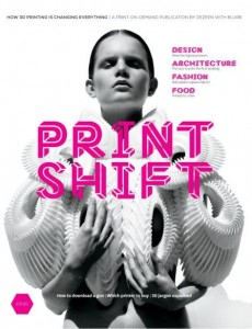 Front cover of Print Shift, a new printed-on-demand publication by Dezeen created in collaboration with Blurb